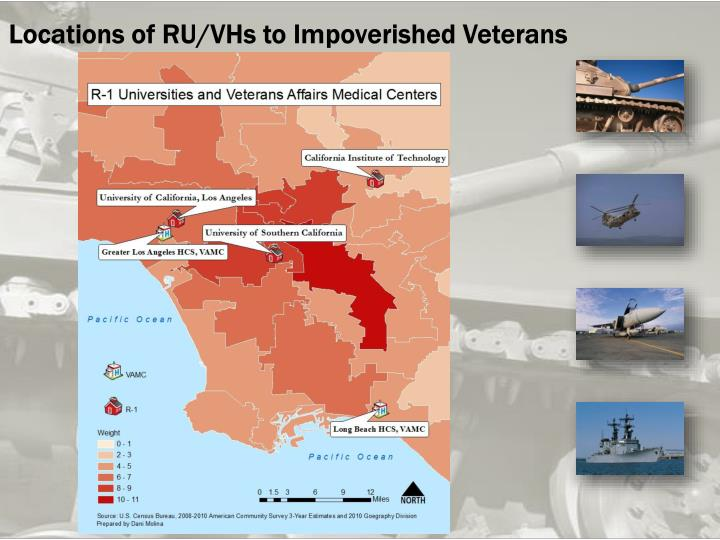 Locations of RU/VHs to Impoverished Veterans