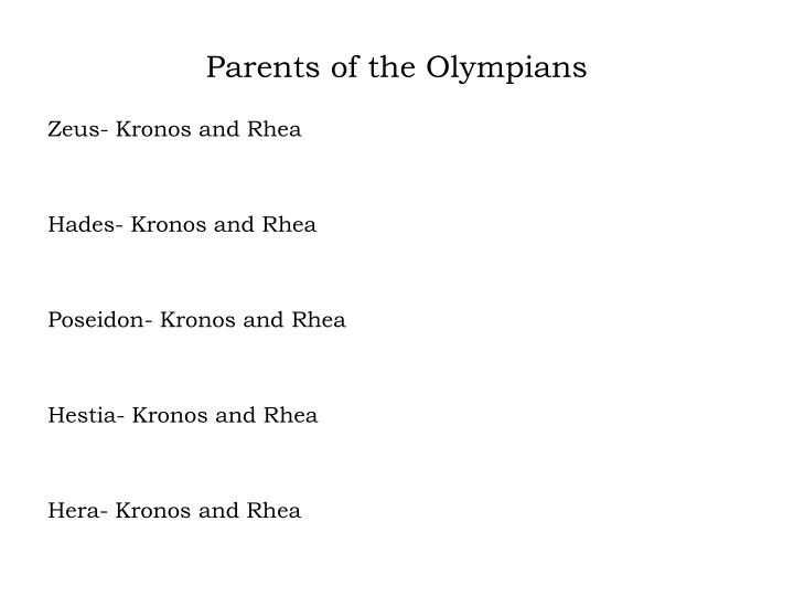 Parents of the Olympians