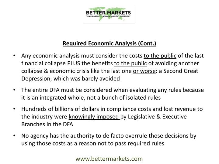 Required Economic Analysis (Cont.)