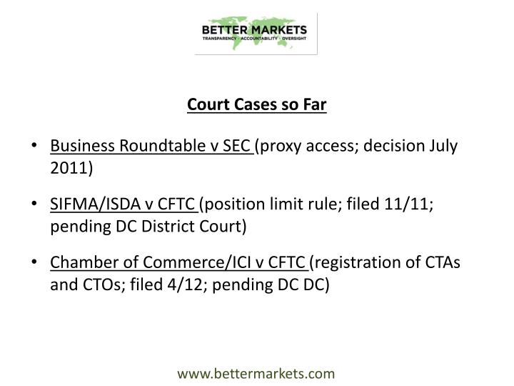 Court Cases so Far