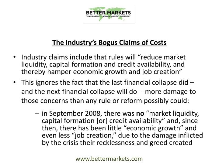 The Industry's Bogus Claims of Costs