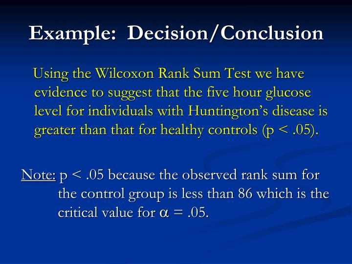 Example:  Decision/Conclusion