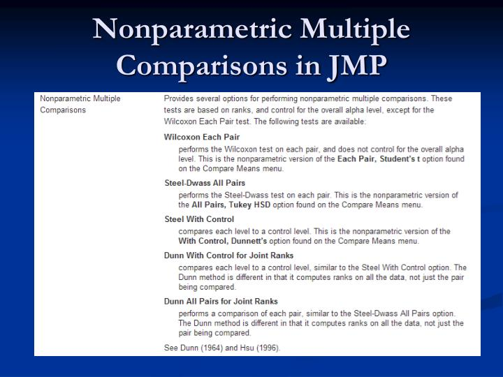 Nonparametric Multiple Comparisons in JMP