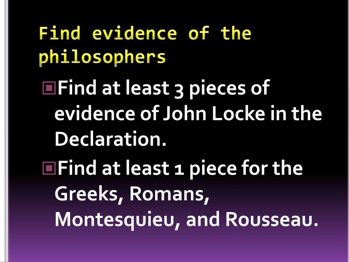 Find evidence of the philosophers