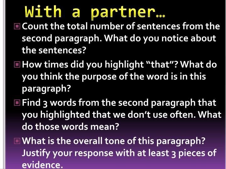 With a partner…