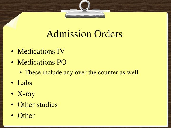 Admission Orders