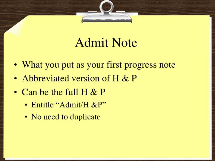 Admit Note