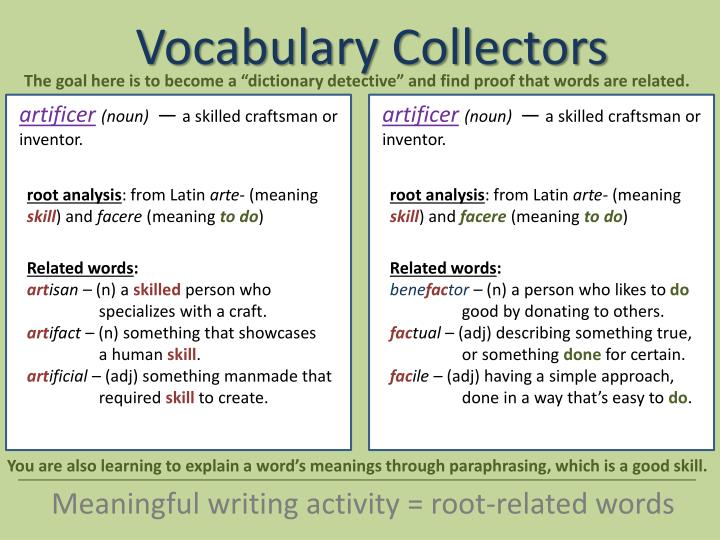 """The goal here is to become a """"dictionary detective"""" and find proof that words are related."""