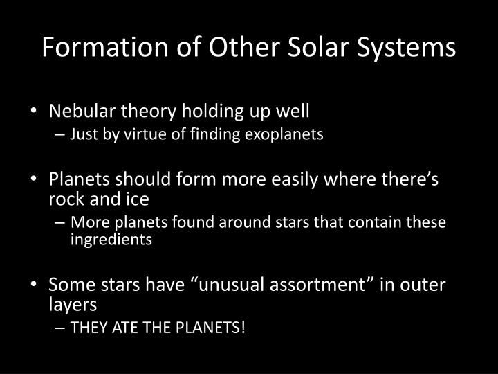 Formation of Other Solar Systems