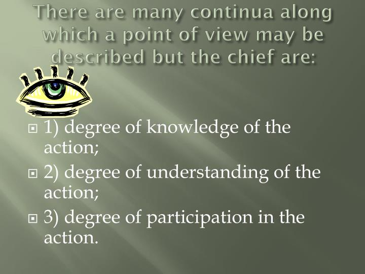 There are many continua along which a point of view may be described but the chief are: