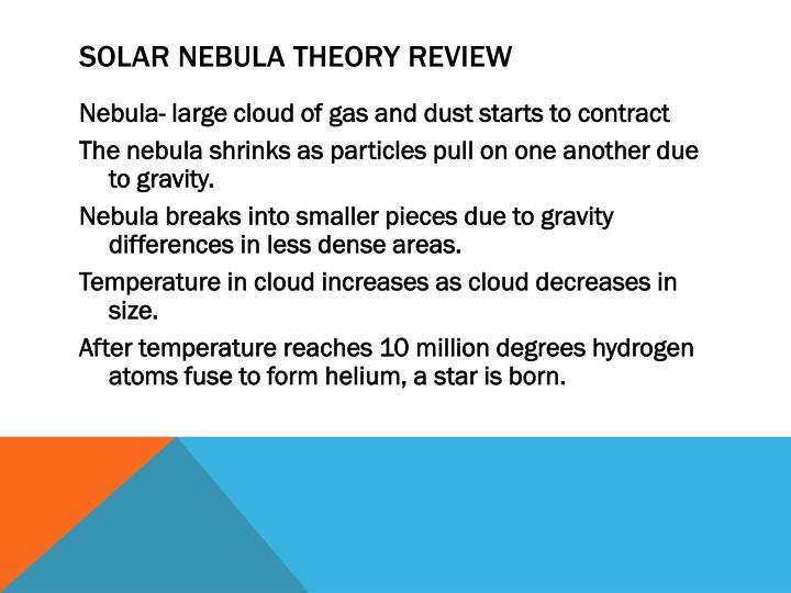 Solar Nebula Theory Review
