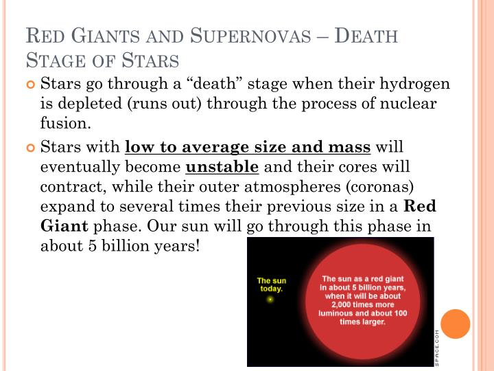 Red Giants and Supernovas – Death Stage of Stars