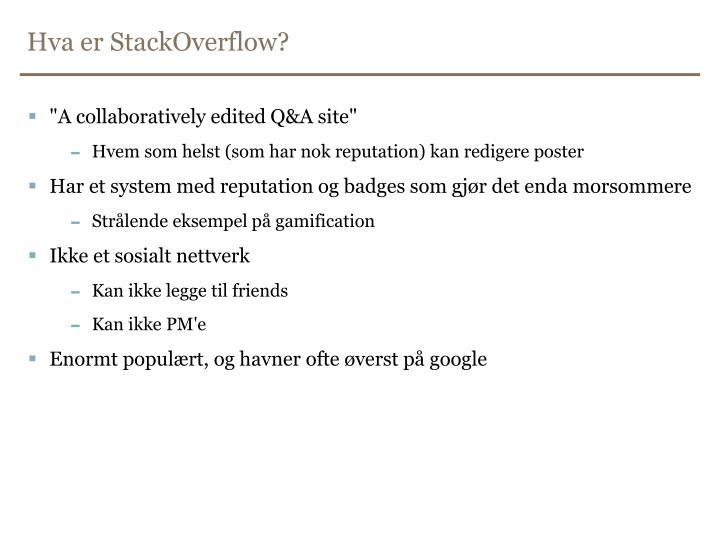 Hva er StackOverflow?