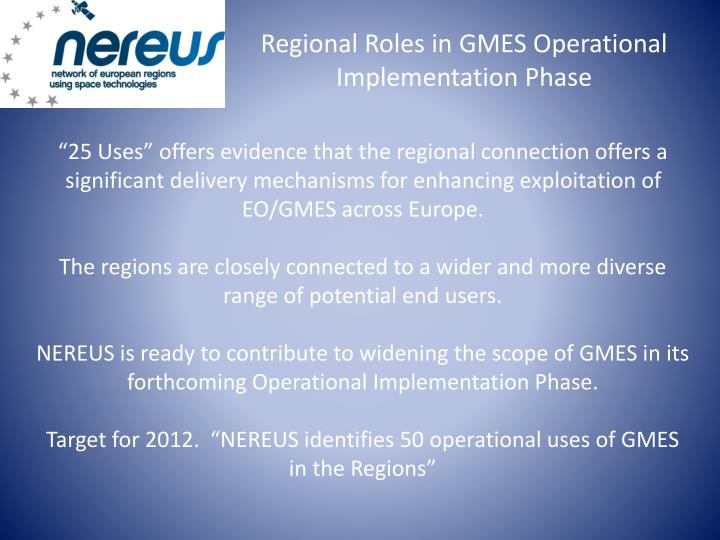 Regional Roles in GMES Operational Implementation Phase