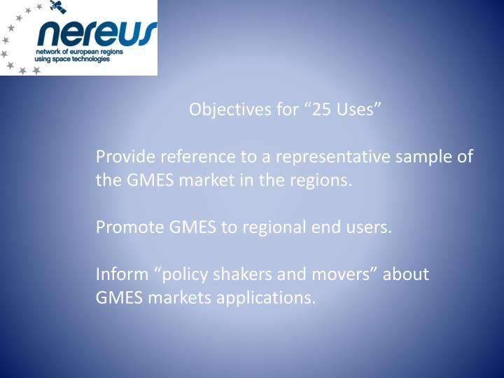 "Objectives for ""25 Uses"""