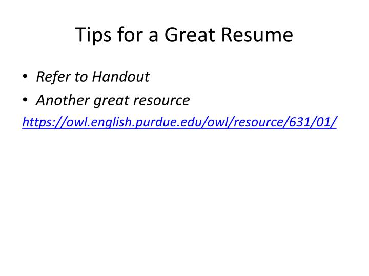 Tips for a Great Resume