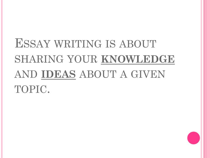 Essay writing is about sharing your knowledge and ideas about a given topic