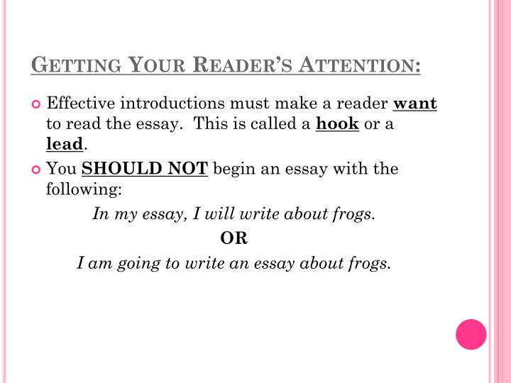 Getting Your Reader's Attention: