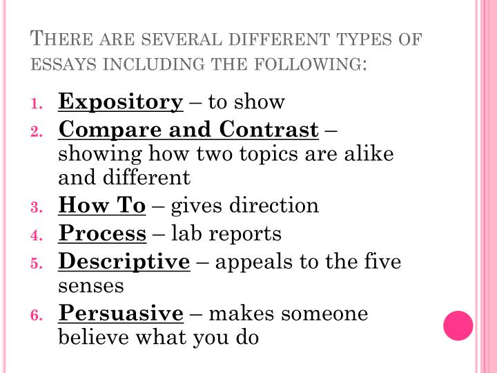 There are several different types of essays including the following