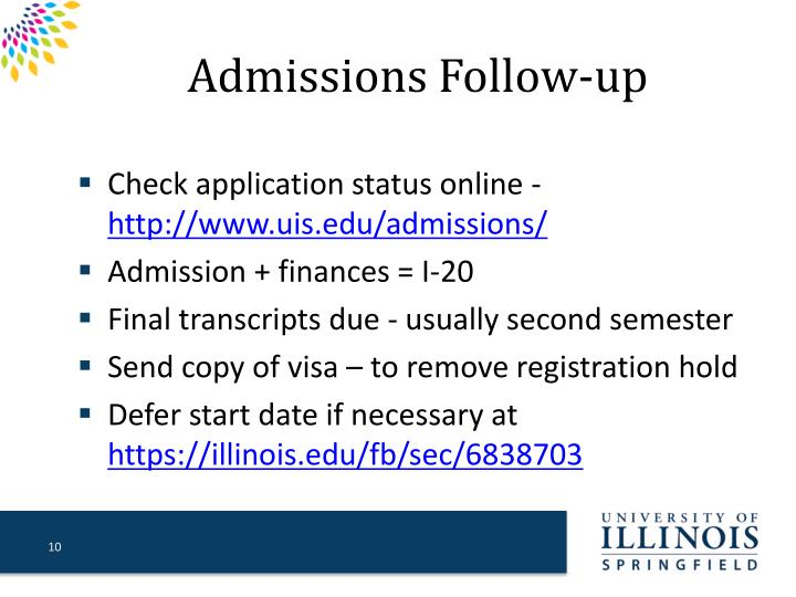 Admissions Follow-up