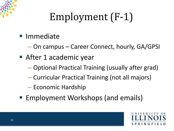 Employment (F-1)