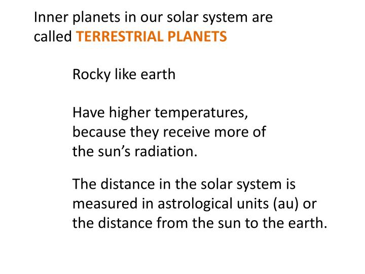 Inner planets in our solar system are called