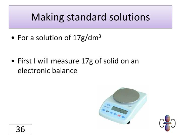 Making standard solutions