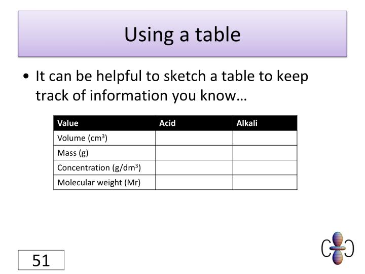 Using a table
