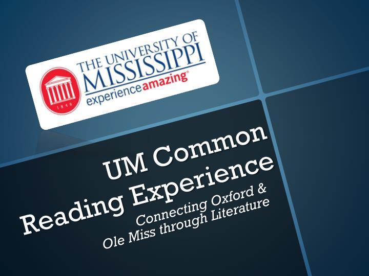 UM Common Reading Experience