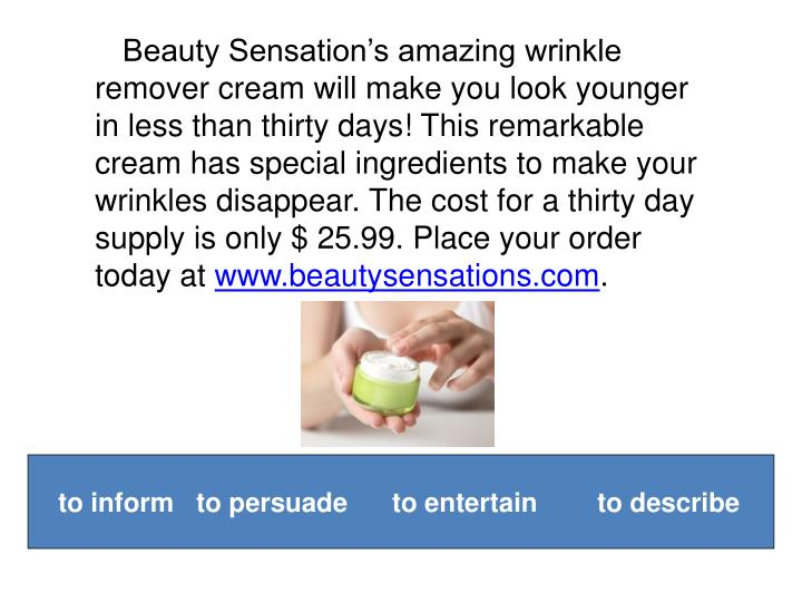 Beauty Sensation's amazing wrinkle remover