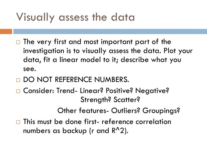 Visually assess the data