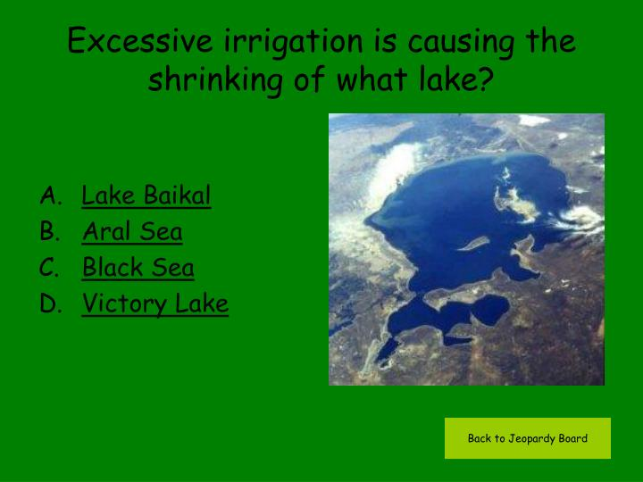 Excessive irrigation is causing the shrinking of what lake?