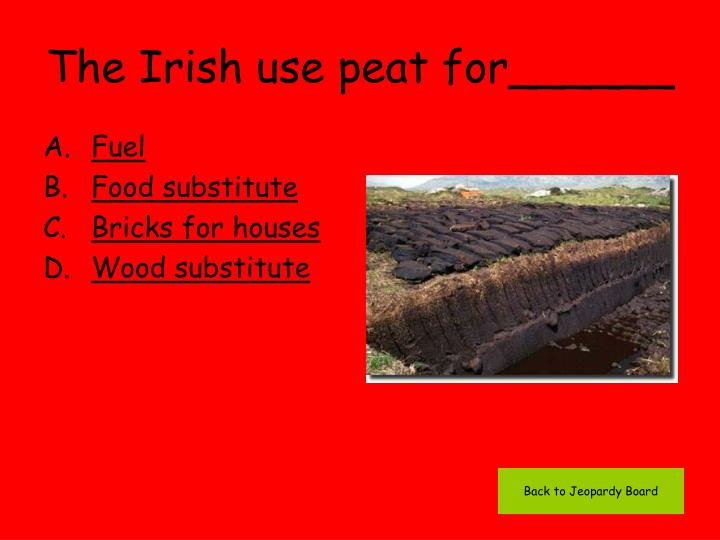 The Irish use peat for______