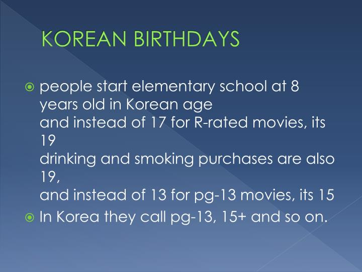 KOREAN BIRTHDAYS