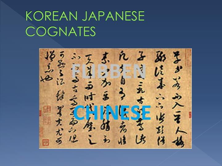 KOREAN JAPANESE COGNATES