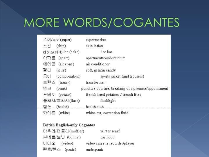 MORE WORDS/COGANTES