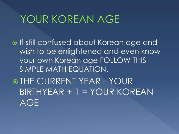 YOUR KOREAN AGE