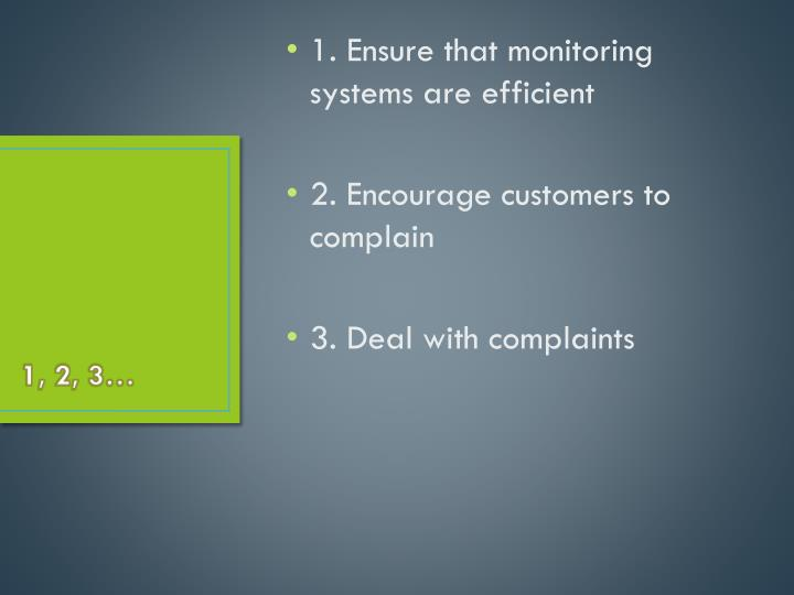 1. Ensure that monitoring systems are