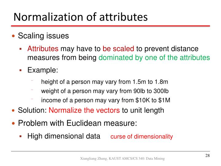 Normalization of attributes