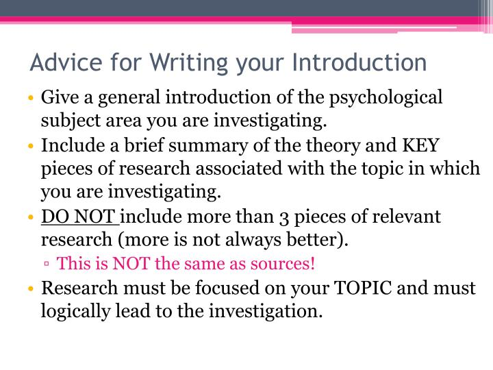Give a general introduction of the psychological subject area you are investigating.