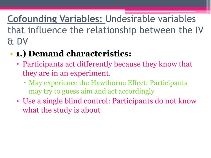 Cofounding Variables: