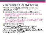 goal regarding the hypotheses