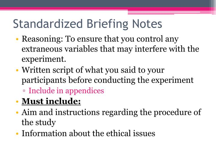 Standardized Briefing Notes
