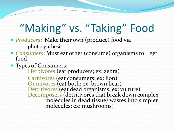 """""""Making"""" vs. """"Taking"""" Food"""