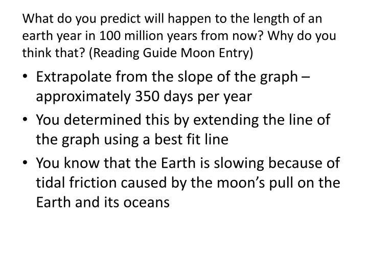 What do you predict will happen to the length of an earth year in 100 million years from now? Why do you think that
