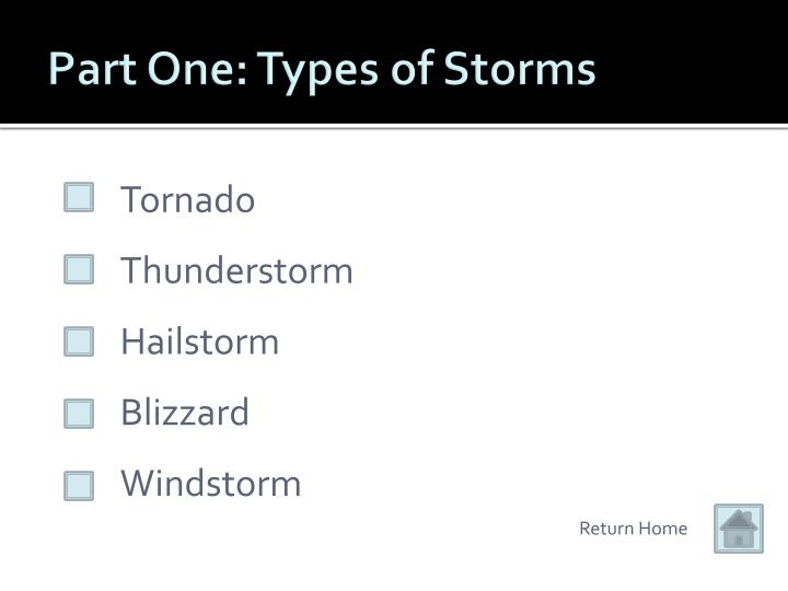 Part One: Types of Storms