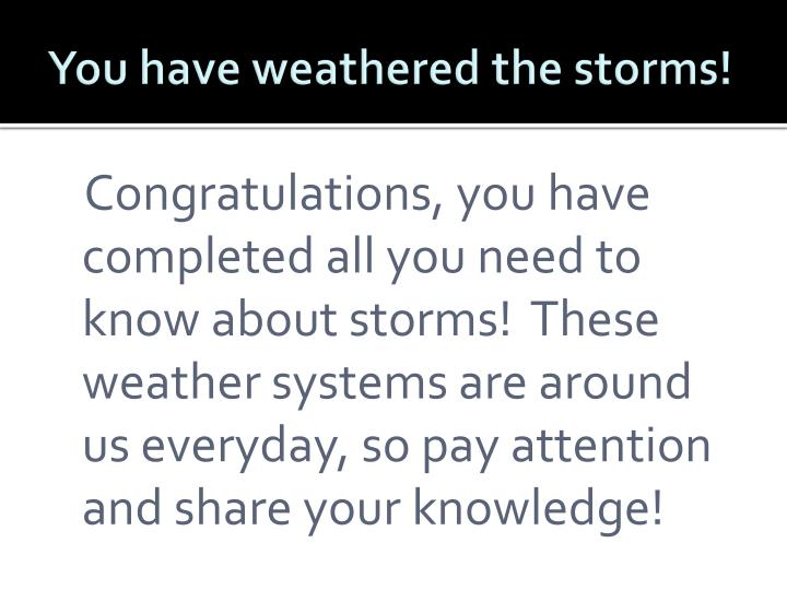 You have weathered the storms!