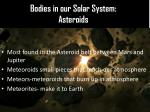 bodies in our solar system asteroids