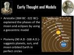 early thought and models