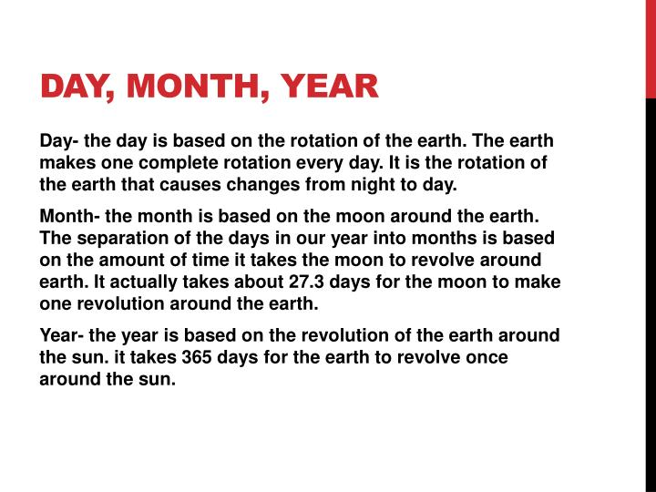 Day, month, year